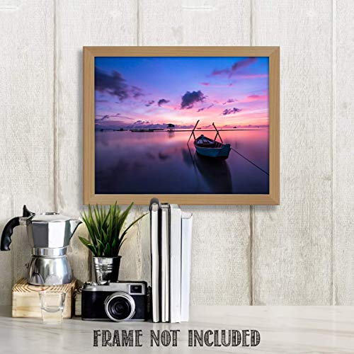 (Island Sunrise Fishing Boat- 8 x 10'-Wall Art Print- Ready to Frame. Beautiful Beach Décor- Tropical Home Decor- Office Decor- Makes the Perfect Art for Any Room. Classy Touch to the Man Cave.)