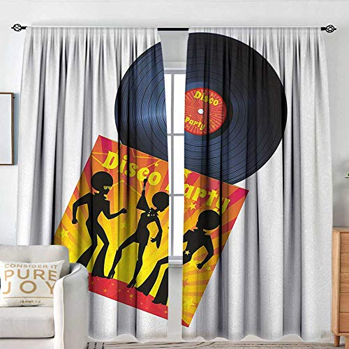 (NUOMANAN Bedroom Curtains 70s Party,Vinyl Record Cover with Disco Party Illustration Dancers Music Art Print,Orange Yellow White,Insulating Room Darkening Blackout Drapes 120