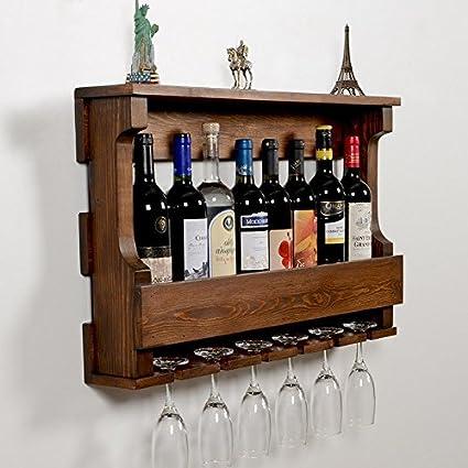 Amazoncom Woodymood Hangover Wine Rack Glass Holder Wall Mounted