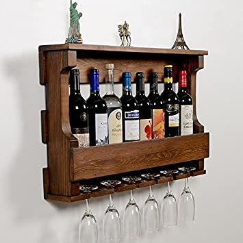 Amazoncom Woodymood Hangover Wine Rack Glass Holder Wall Mounted