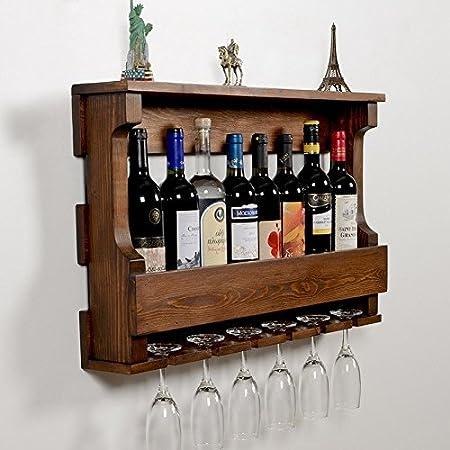 Woodymood Hangover Wine Rack Glass Holder Wall Mounted Wine Racks Hangers for 6 Wine Glasses 8 Bottles W:28 L:4.5 H:17.5