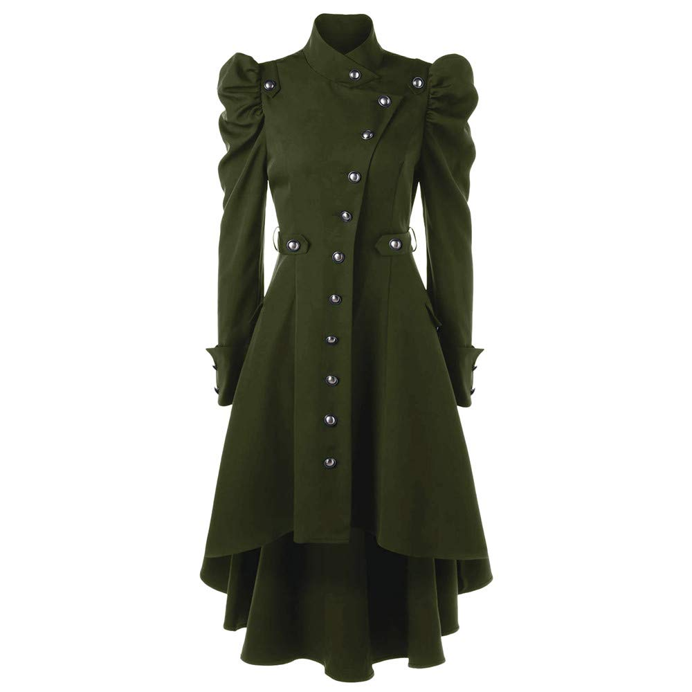 Vintage Womens Steampunk Victorian Swallow Tail Long Trench Coat Jacket Thin Outwear Green by BODOAO