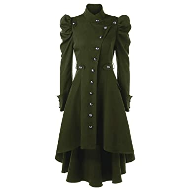 02f72076b4b NRUTUP Womens Tops Blouse Vintage Steampunk Long Coat Gothic Overcoat Ladies  Retro Jacket (Green