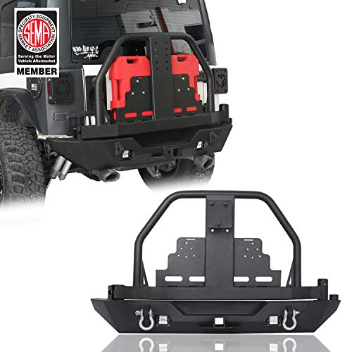 - Hooke Road 2007-2018 Jeep JK Rear Bumper w/Oil Drum Rack Bar & Spare Tire Carrier for Wrangler JK & Wrangler Unlimited
