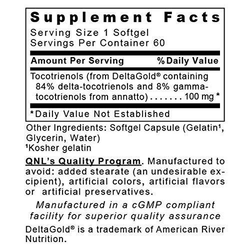Quantum Nutrition Labs Delta Tocotrienols, 120 Softgels -Premier Reseach Complex for Advanced Antioxidant and Cardiovascular Support
