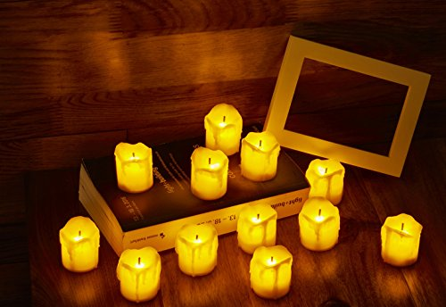 [Pack of 12] LED Flameless Tea Light Candles, Realistic Look of Melted Wax and Flickering Flame, Battery Powered - Perfect for Wedding, Holiday and Party Decoration(Yellow (Halloween Looks)