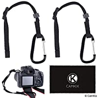 2x Camera Tether with Carabiner - Double Secure your DSLR or Compact Camera - First Attach to Camera Eyelet - Then Hook Up to Camera Strap, Tripod, Monopod, etc (2 Pack - Camera Tether + Caribiner)