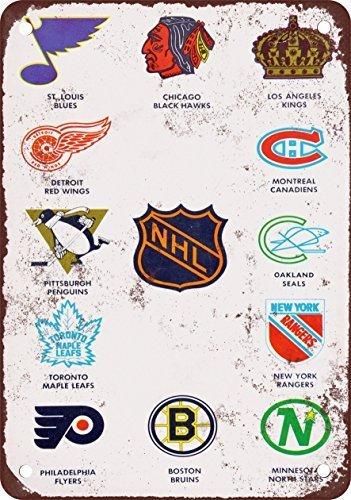 Hockey Tin - 1968 Pro Hockey Teams Vintage Look Reproduction Metal Tin Sign 12X18 Inches