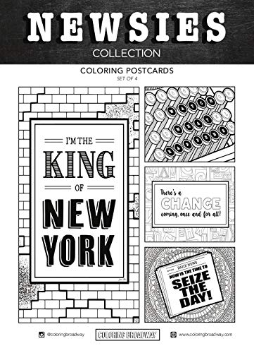 Newsies Musical - Coloring Postcards - Hand-drawn illustrations by Coloring Broadway. Printed on matte card stock. (5 x 7 - Set of 4)