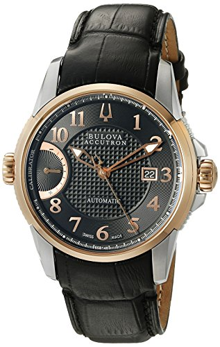 Bulova Men's 'Calibrator' Swiss Automatic Stainless Steel and Leather Casual Watch, Color:Black (Model: 65B148)