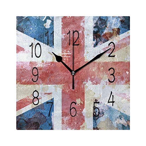 Jojogood Grunge Style Union Flag Square Wall Clock Silent Non Ticking Acrylic Decorative Clock for Home Decor Living Room Kitchen Bedroom Office School