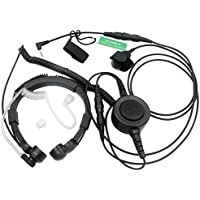 SUNDELY Military Grade Tactical Throat Mic Headset/Earpiece with BIG Finger PTT For Garmin Rino GPS /2 Two Way Radio Walkie Talkie Combo 1-pin
