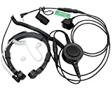 SUNDELY Military Grade Tactical Throat Mic Headset/Earpiece with BIG Finger PTT for Motorola Talkabout 2 Two Way Radio Walkie Talkie 1 Pin Jack