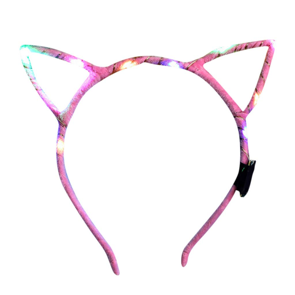 Goldweather Unisex Flash Glowing Headband Club Party Bright Hairband Lovely Head Hoop Hair Accessories (Pink)