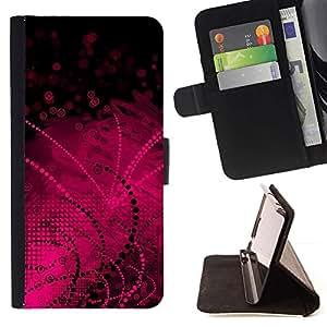 For HTC One M7 Case , Black Pattern Lines Dots - la tarjeta de Crédito Slots PU Funda de cuero Monedero caso cubierta de piel