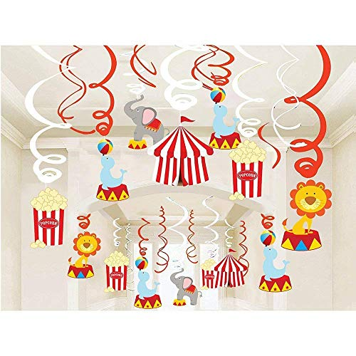 (Kristin Paradise 30Ct Carnival Hanging Swirl Decorations - Circus Animals Party Supplies - Circo Birthday Favors for Kids - Ceiling Streamers - Baby Shower, 1st, First Bday Theme)