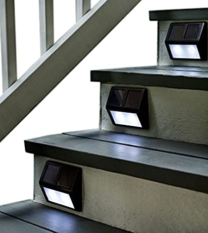 Plow U0026 Hearth 11979 BRZ Solar Powered Outdoor Stair Lights Aluminum And  Plastic (Set