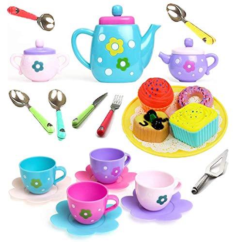 Amitasha Plastic Tea Party Pretend Play Kitchen Utensils Toy Set with Cake for Kids