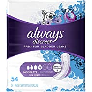 Always Discreet, Incontinence Pads, Moderate, Long Length, 54 Count (Packaging May vary)