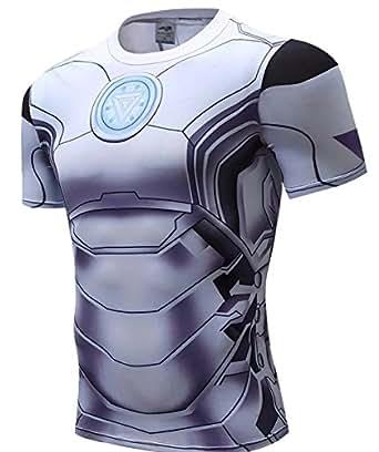 172a04d9dfe37 A. M. Sport Camiseta Fitness Compresion Hombre con Dibujos de Superheroes  para Entrenar y Hacer Deporte. Licras (Iron Blanca) - XL  Amazon.es  Ropa y  ...