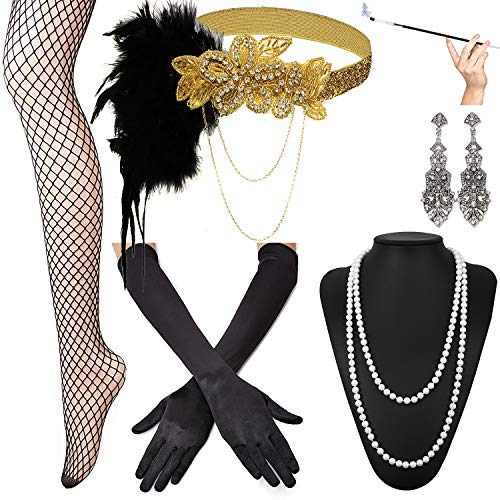 1920s Accessories Set Headband,Necklace,Gloves,Cigarette Holder and Feather boa (G) -