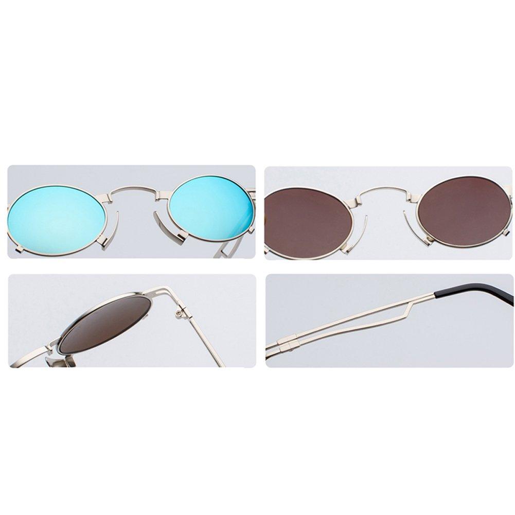 Amazon.com: Punk anteojos de sol Hombre Vintage pequeño Oval ...