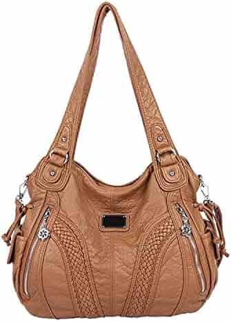 7f717f7a78d Angelkiss Women Top Handle Satchel Handbags Shoulder Bag Messenger Tote  Washed Leather Purses Bag
