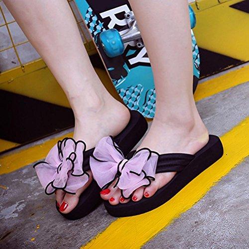 Ouneed® Damen Sandalen ,Damen Sommer Bowknot Sandalen Slipper Indoor Outdoor Flip-Flops Strand Schwimmbad Plattform Wedges Schuhe (37, Rosa)