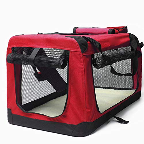 Red S-60X42X42CM red S-60X42X42CM YSYPET Pet Outdoor Portable Folding Lightweight Soft-Side Fabric Travel Carrier Bag Crate Package Breathable Seat Tote Car, red, S-60X42X42CM