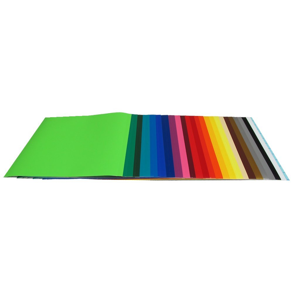 Vinyl Ease 12'' x 12'' - 48 Sheets of Assorted Matte Colors of Removable Adhesive Backed Vinyl for Craft Cutters, Punches and Vinyl Sign Cutters - V0104