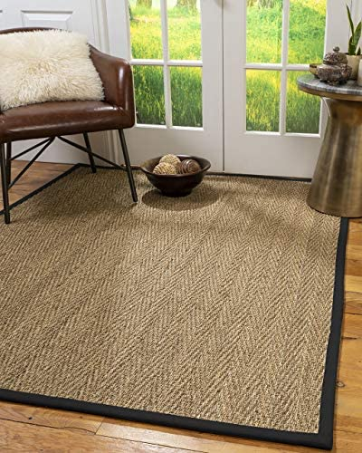 NaturalAreaRugs Opulence Area Rug Natural Seagrass Hand-Crafted Black Wide Canvas Border