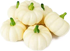 Peicees 6 Realistic Fall Harvest Small Beige Mini Artificial Pumpkins for Halloween, Fall and Thanksgiving Decorating
