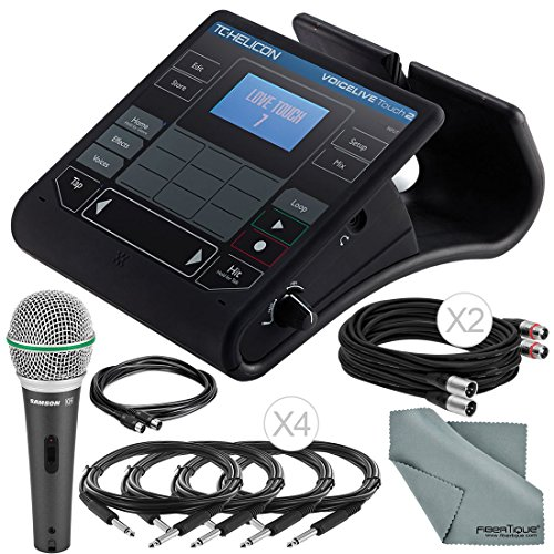 TC-Helicon VoiceLive Touch 2 Vocal Effects Processor w/ Touch Interface and Accessory Bundle w/ Samson Q6 Mic + Fibertique Cloth + Xpix Cables by Photo Savings