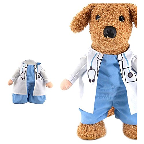 SODIAL(R) Halloween pet cat dog doctor costume cosplay small medium dog puppy party jacket clothing dog clothes for Pitbull(M) ()