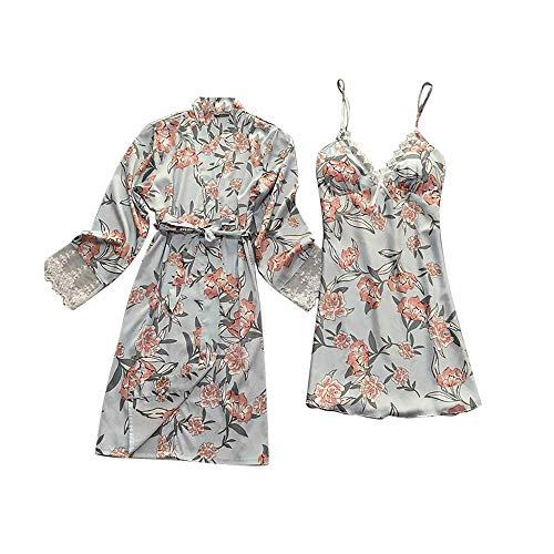 Royal Style Design Flower Print Set Pajamas Loose Bathrobe Belt Sling Lace Silky Sleepwear from ()