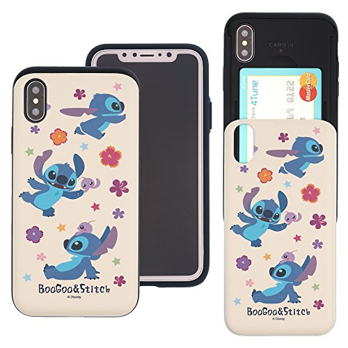 iPhone Xs Case/iPhone X Case Cute Slim Slider Cover : Card Slot Dual Layer Holder Bumper for [ iPhone Xs/iPhone X (5.8inch) ] - Stitch & Boogoo
