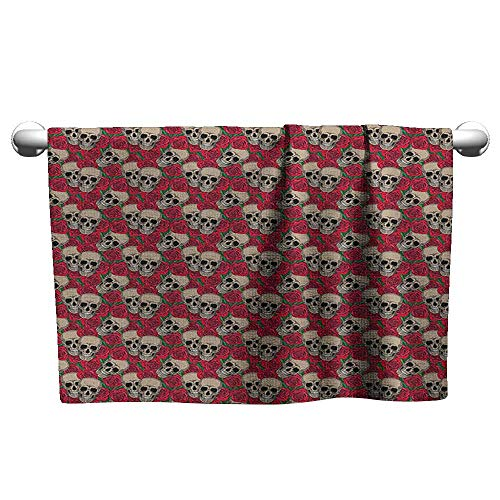 xixiBO Bathroom Towel W28 x L14 Rose,Graphic Skulls and Red Rose Blossoms Halloween Inspired Retro Gothic Pattern, Vermilion Tan Green Durable Towel Cover]()