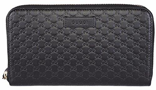 Gucci Women's Leather Micro GG Guccissima Zip Around Wallet (Black)