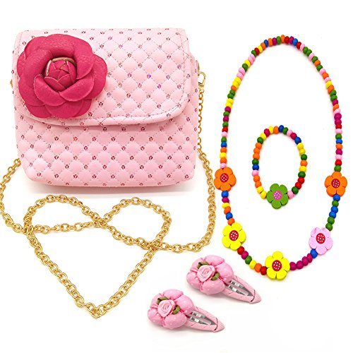 Little Girl Preschoolers Beauty Set 3D Flower Shoulder Chain Leather Handbag crossbody+ 2 Flower Hair Clip + Wooden beads Necklace + Bracelet (pink)