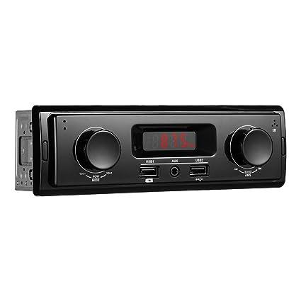 519e47997c3 1 Din Dual Knob In Dash Car Stereo MP3 Audio Player FM Radio AUX-in USB Dis  - - Amazon.com