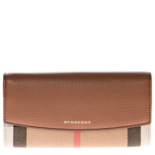 Burberry Women's House Check and Leather Continental Wallet Tan