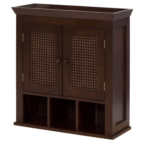 Elegant Home Fashions Wall Cabinet with Cane-Paneled Doors and Storage Cubbies, Cane Brown by Elegant Home Fashions (Image #2)