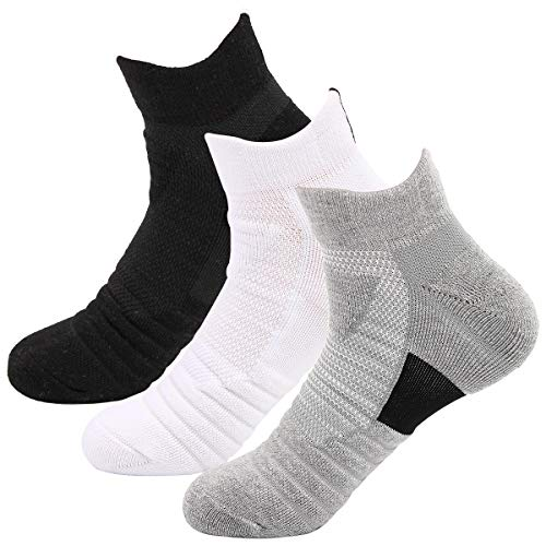 OLCHEE Boys Ankle Athletic Socks Cotton Cushioned Socks 3Packs Ankle Black White Gray