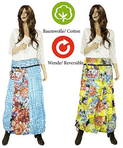 8ad542fac88e ... Sunsa Damen Rock Maxirock Sommerrock Wickelrock Wenderock aus Baumwolle  Zwei Optisch Verschiedene Röcke mit Einem Abnehmbaren ...
