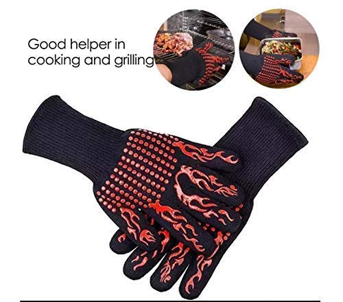 Grill Gloves [Heat & Cooking Gloves] 932°F Extreme High Heat Resistant Grill Gloves Oven Baking Barbecue Grilling Gloves Extra Large Long Cuff EN407 Certified Gloves Aramid & Silicone Gloves