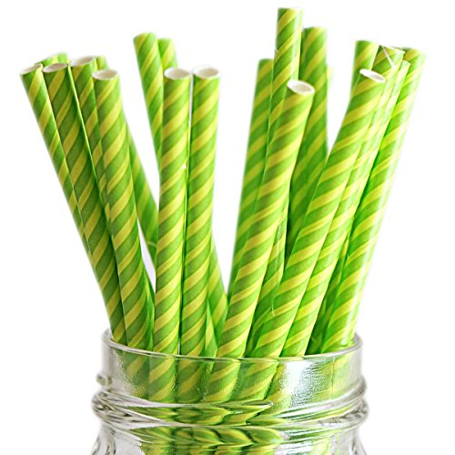 (Queen & Co Stylish Stix Paper Juicy Stripes Straws, 0.25 by 7.75-Inch, Kiwi Kiss, 25-Pack)