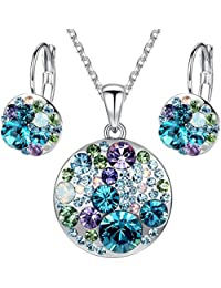 """[Presented by Miss New York] Leafael """"Ocean Bubble"""" Swarovski Crystal Multi-stone Round Disc Pendant Necklace Earrings Jewelry Set, 18"""" + 2"""""""