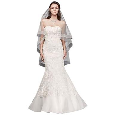 David\'s Bridal Lace Overlay Charmeuse Wedding Dress with Train Style ...