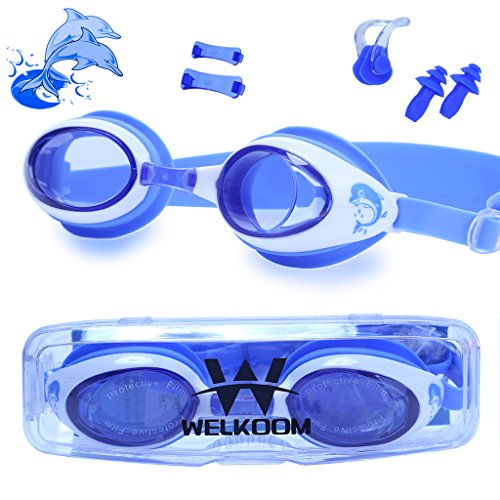 Dragon Squama Swim Goggles for Kids Anti-Fog PC Clear Lens with S,M,L Nose Bridge and Nose Clips,Earplugs - Swimming Pool Accessory for Girls,Boys,Children,Juniors and Teens from 3 to 12 Years