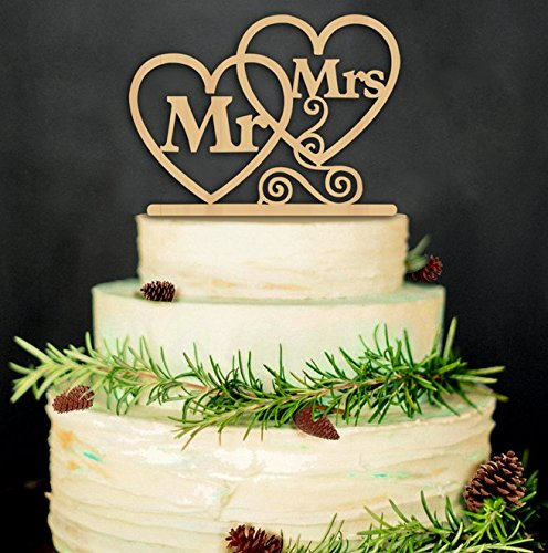 Rustic Wedding Cake Topper - Mr and Mrs